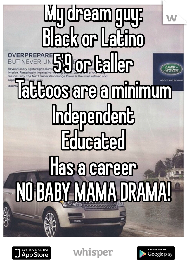 My dream guy: Black or Latino 5'9 or taller Tattoos are a minimum  Independent  Educated  Has a career  NO BABY MAMA DRAMA!