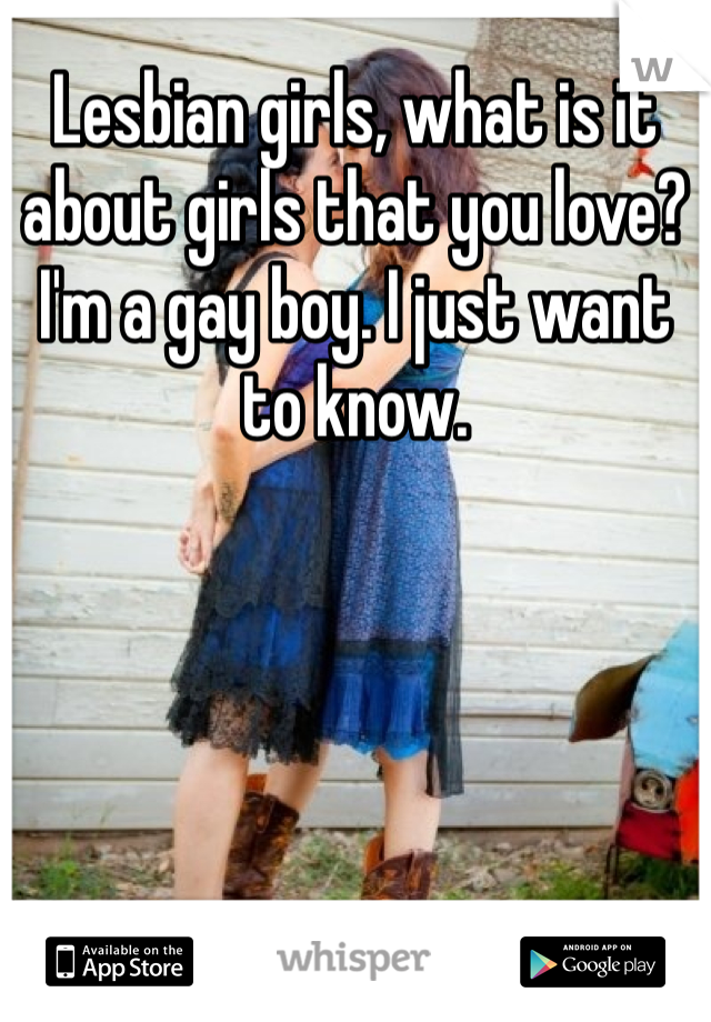 Lesbian girls, what is it about girls that you love?  I'm a gay boy. I just want to know.