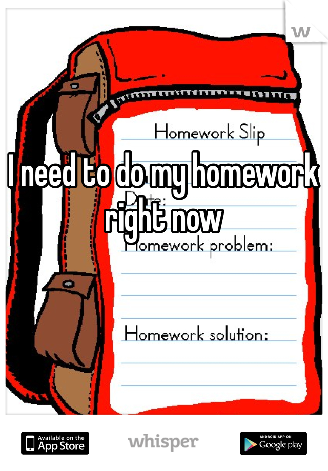 I need to do my homework right now