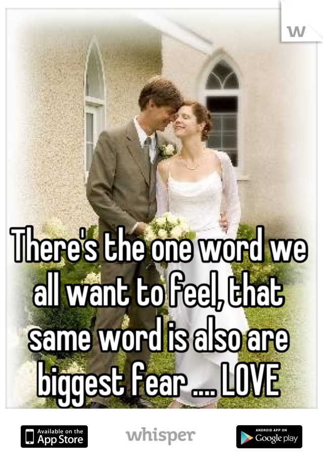 There's the one word we all want to feel, that same word is also are biggest fear .... LOVE