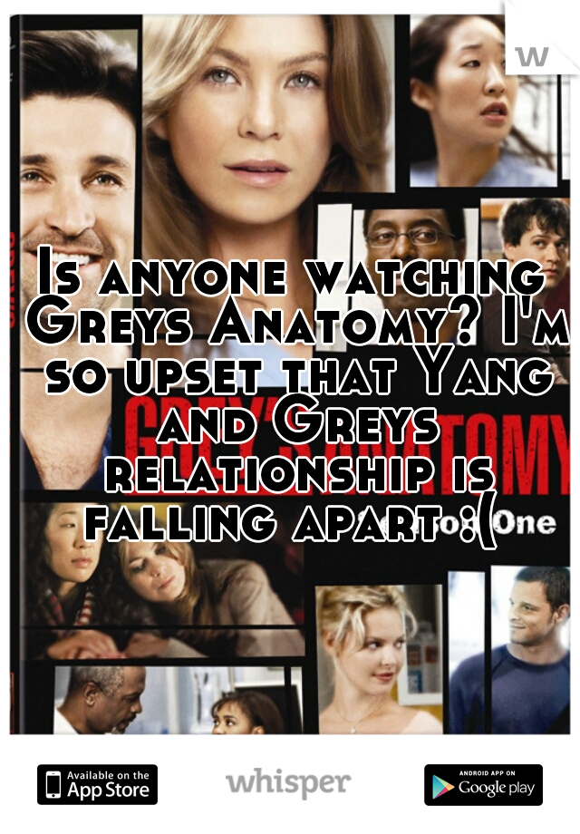 Is anyone watching Greys Anatomy? I'm so upset that Yang and Greys relationship is falling apart :(