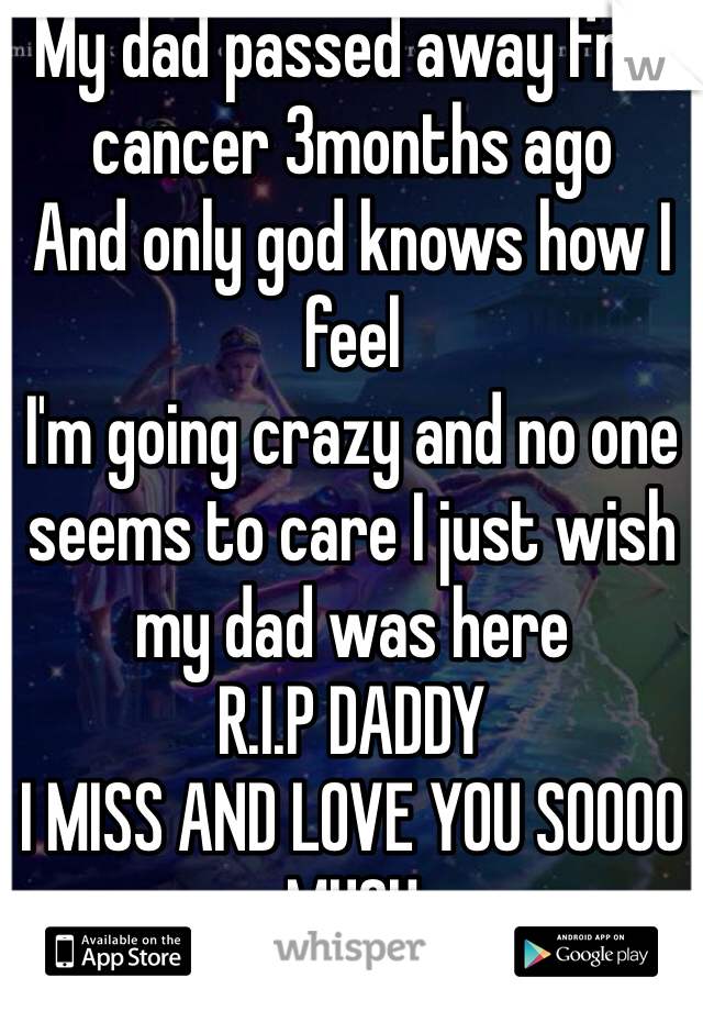 My dad passed away frm cancer 3months ago  And only god knows how I feel  I'm going crazy and no one seems to care I just wish my dad was here  R.I.P DADDY  I MISS AND LOVE YOU SOOOO MUCH  20 F