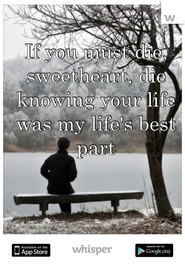 If you must die, sweetheart, die knowing your life was my life's best part