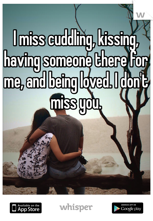 I miss cuddling, kissing, having someone there for me, and being loved. I don't miss you.