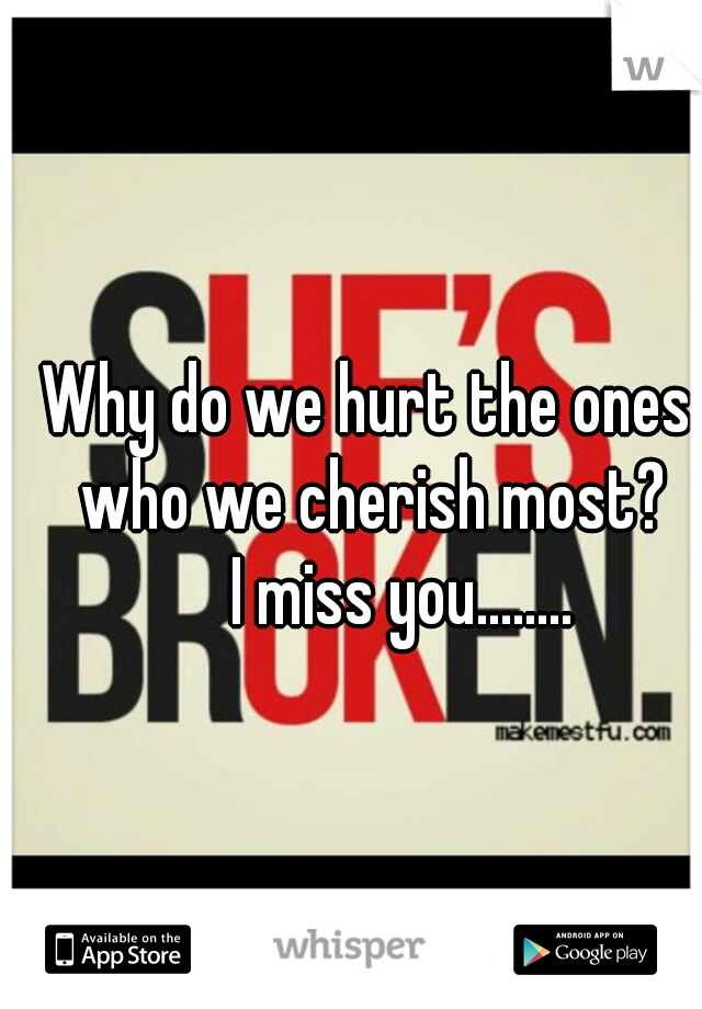 Why do we hurt the ones who we cherish most?      I miss you........