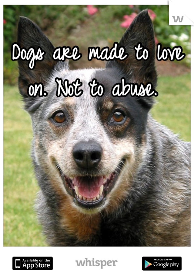 Dogs are made to love on. Not to abuse.
