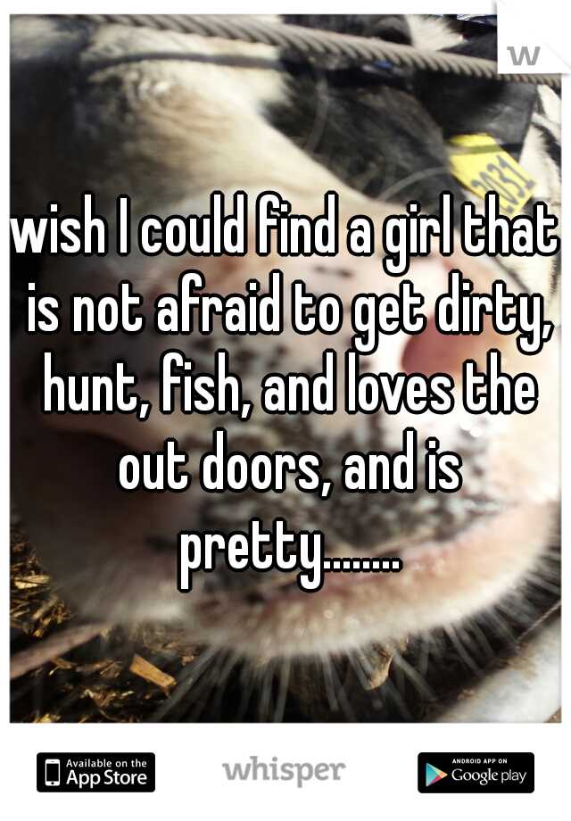 wish I could find a girl that is not afraid to get dirty, hunt, fish, and loves the out doors, and is pretty........