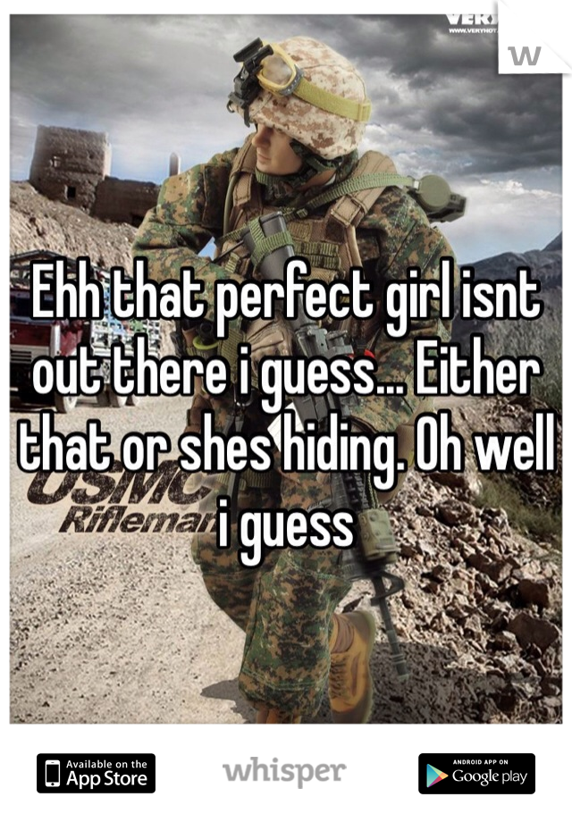 Ehh that perfect girl isnt out there i guess... Either that or shes hiding. Oh well i guess