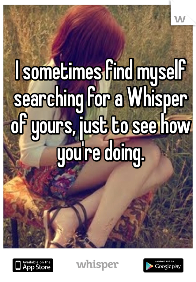 I sometimes find myself searching for a Whisper of yours, just to see how you're doing.
