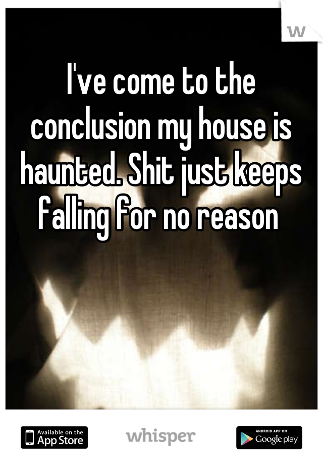 I've come to the conclusion my house is haunted. Shit just keeps falling for no reason