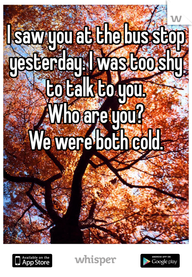 I saw you at the bus stop yesterday. I was too shy to talk to you.  Who are you?  We were both cold.