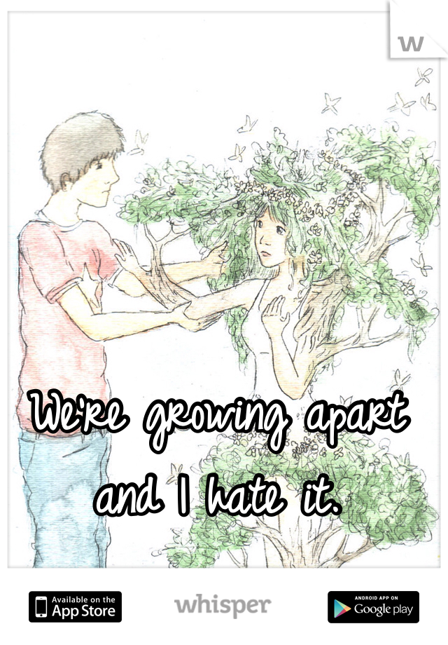 We're growing apart and I hate it.