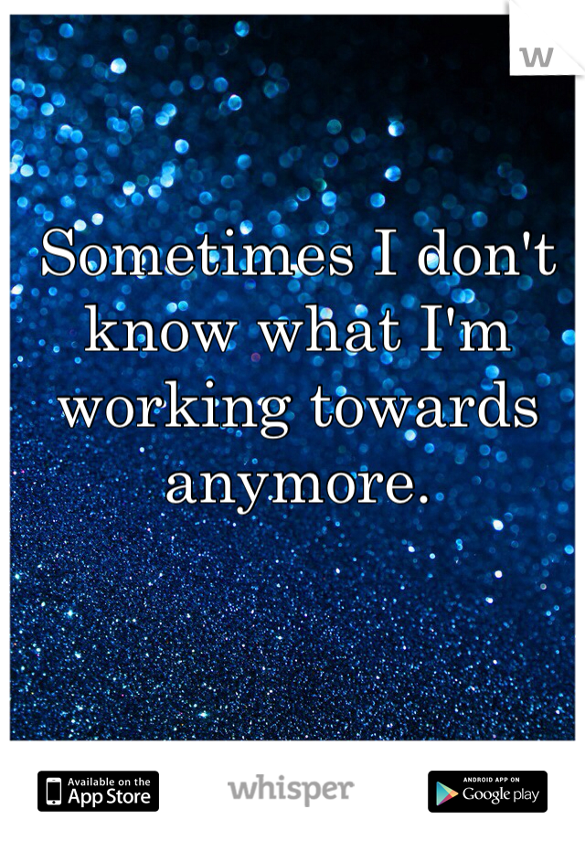 Sometimes I don't know what I'm working towards anymore.