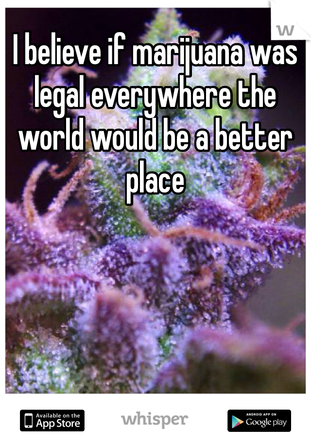 I believe if marijuana was legal everywhere the world would be a better place