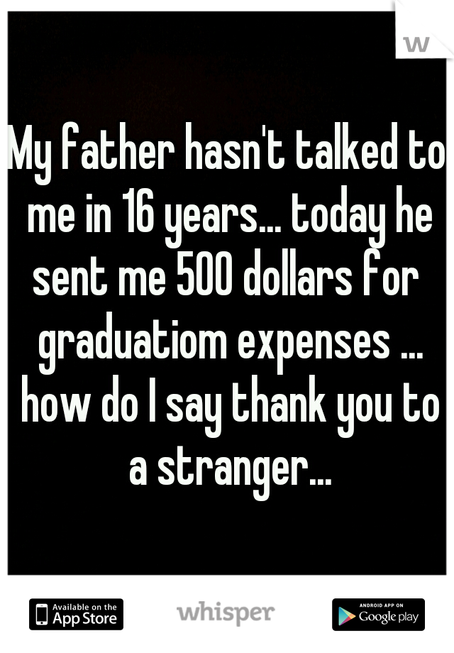My father hasn't talked to me in 16 years... today he sent me 500 dollars for  graduatiom expenses ... how do I say thank you to a stranger...