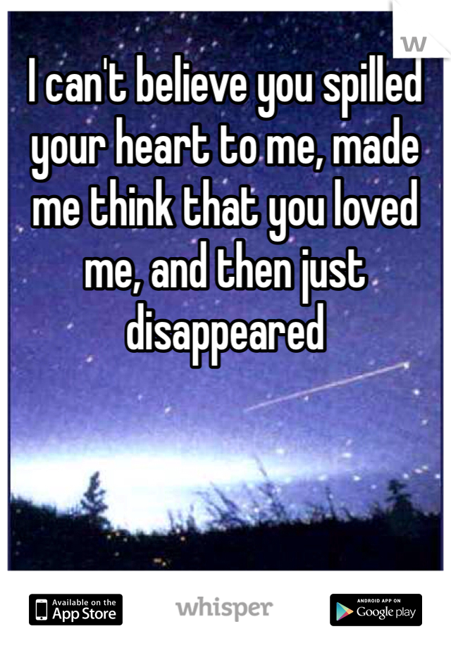 I can't believe you spilled your heart to me, made me think that you loved me, and then just disappeared