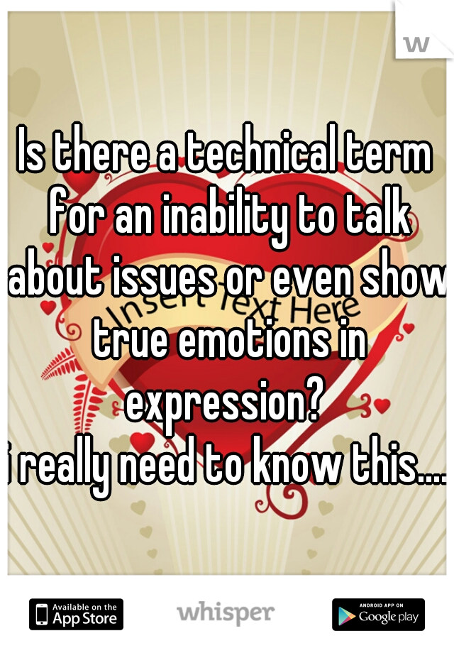 Is there a technical term for an inability to talk about issues or even show true emotions in expression?  i really need to know this....