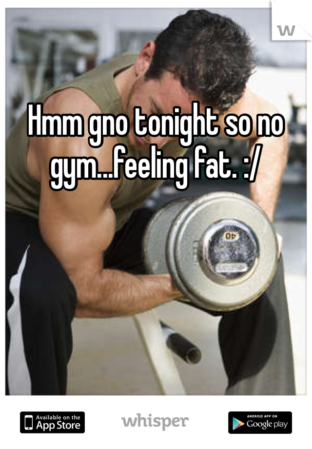 Hmm gno tonight so no gym...feeling fat. :/