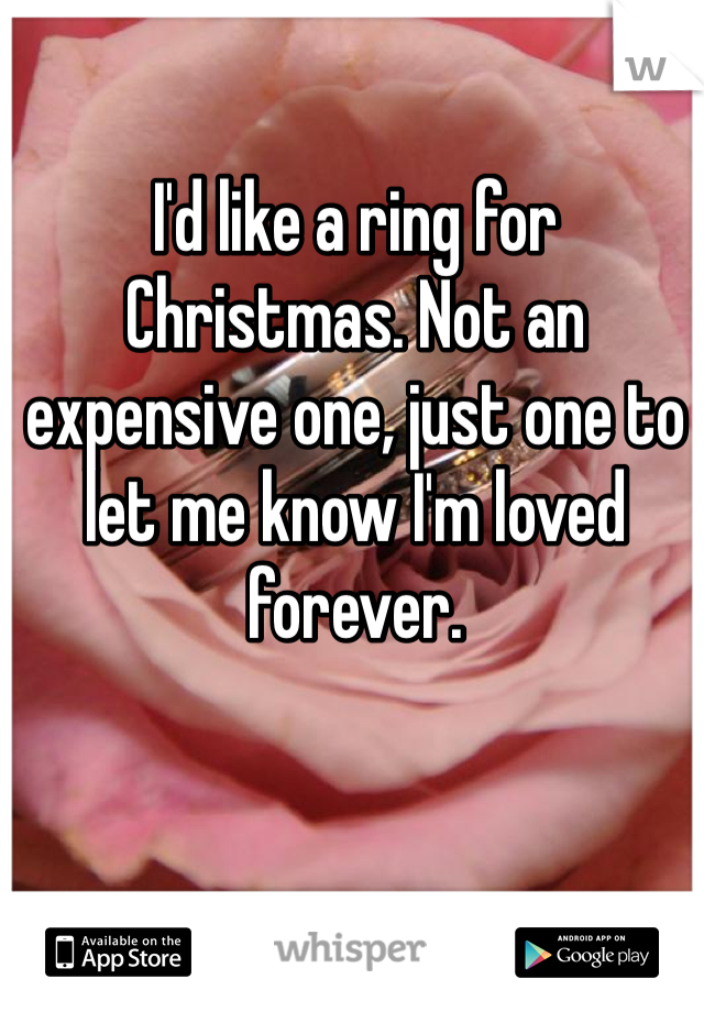 I'd like a ring for Christmas. Not an expensive one, just one to let me know I'm loved forever.