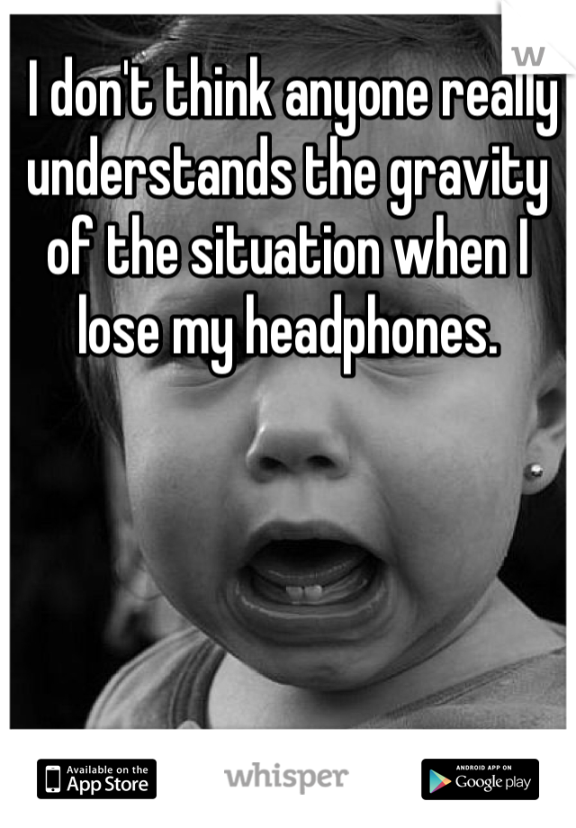 I don't think anyone really understands the gravity of the situation when I lose my headphones.