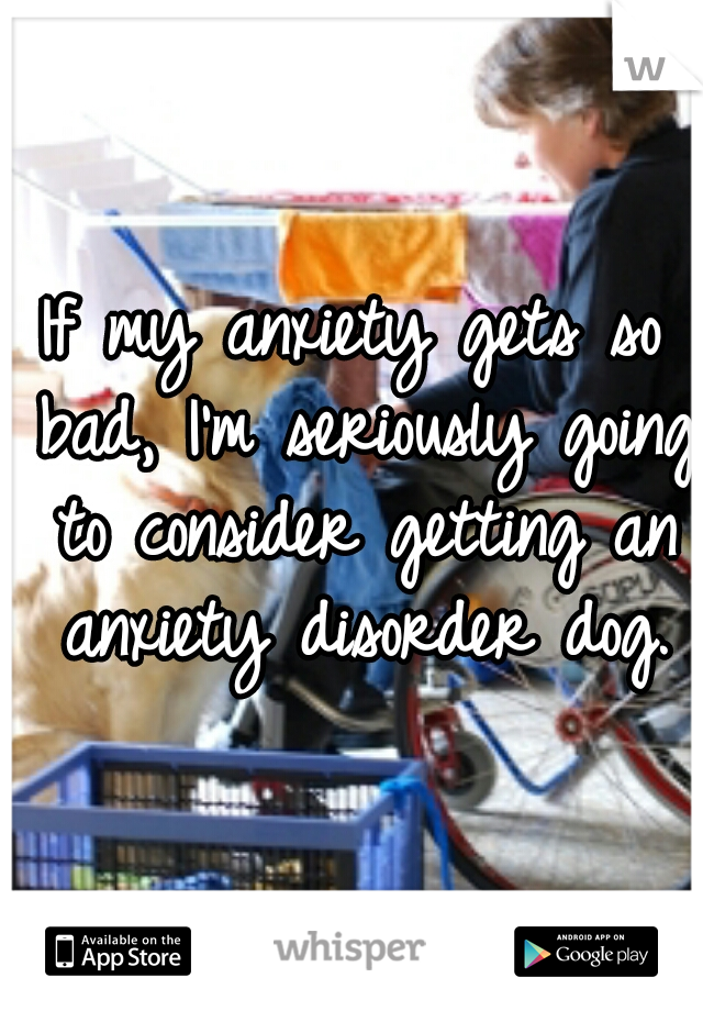 If my anxiety gets so bad, I'm seriously going to consider getting an anxiety disorder dog.
