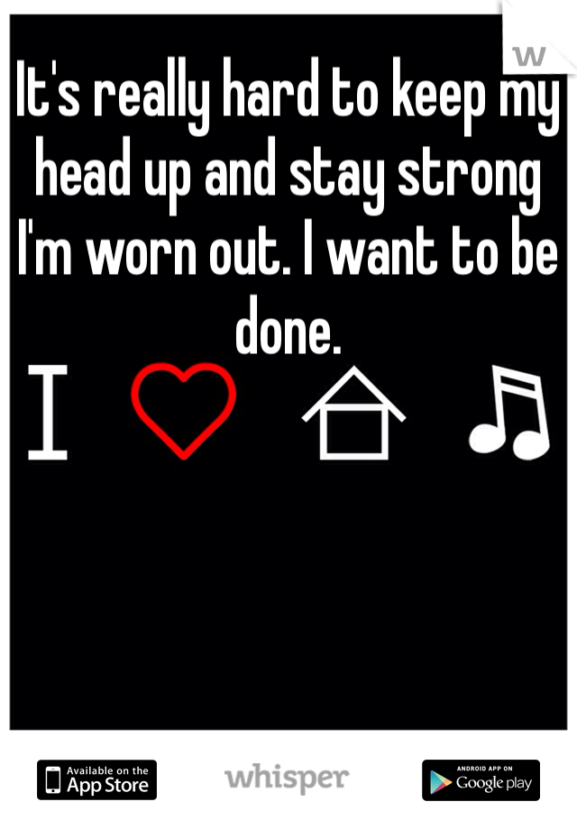 It's really hard to keep my head up and stay strong I'm worn out. I want to be done.