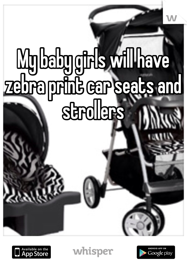 My baby girls will have zebra print car seats and strollers