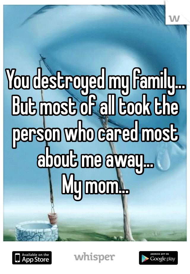 You destroyed my family... But most of all took the person who cared most about me away...  My mom...