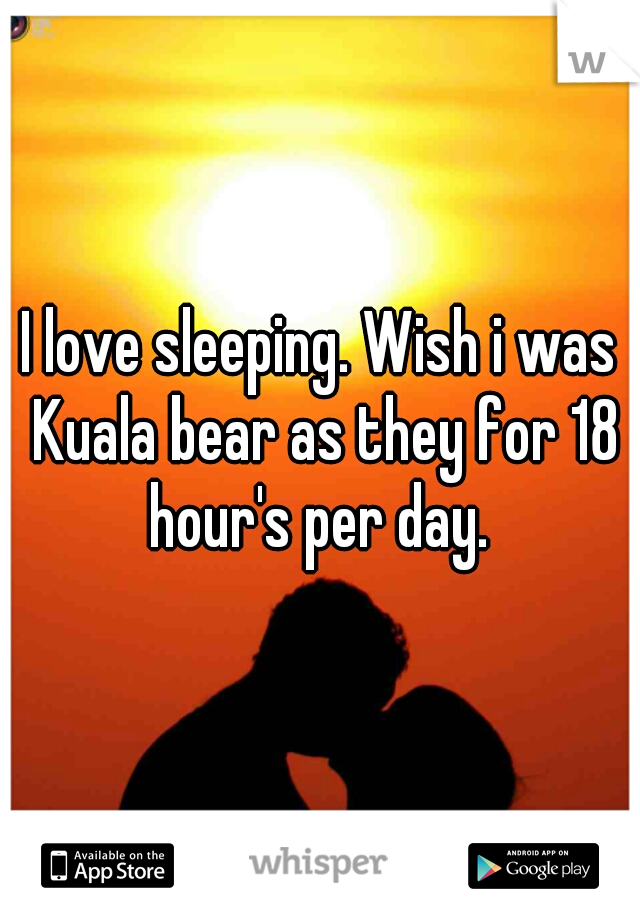 I love sleeping. Wish i was  Kuala bear as they for 18 hour's per day.