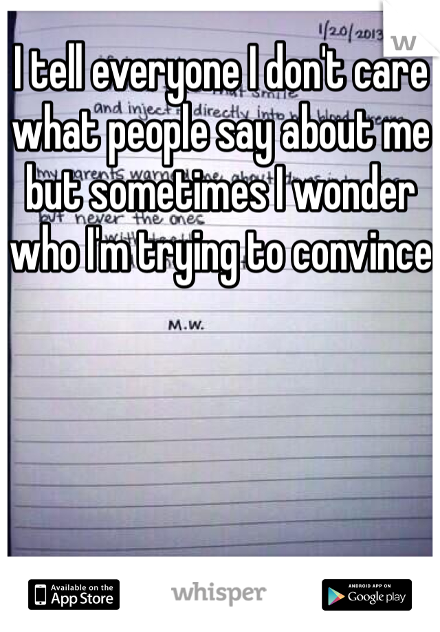 I tell everyone I don't care what people say about me but sometimes I wonder who I'm trying to convince