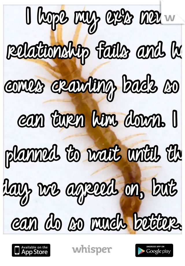 I hope my ex's new relationship fails and he comes crawling back so I can turn him down. I planned to wait until the day we agreed on, but I can do so much better.