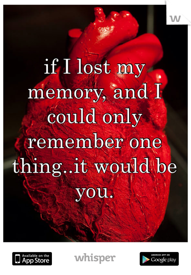 if I lost my memory, and I could only remember one thing..it would be you.