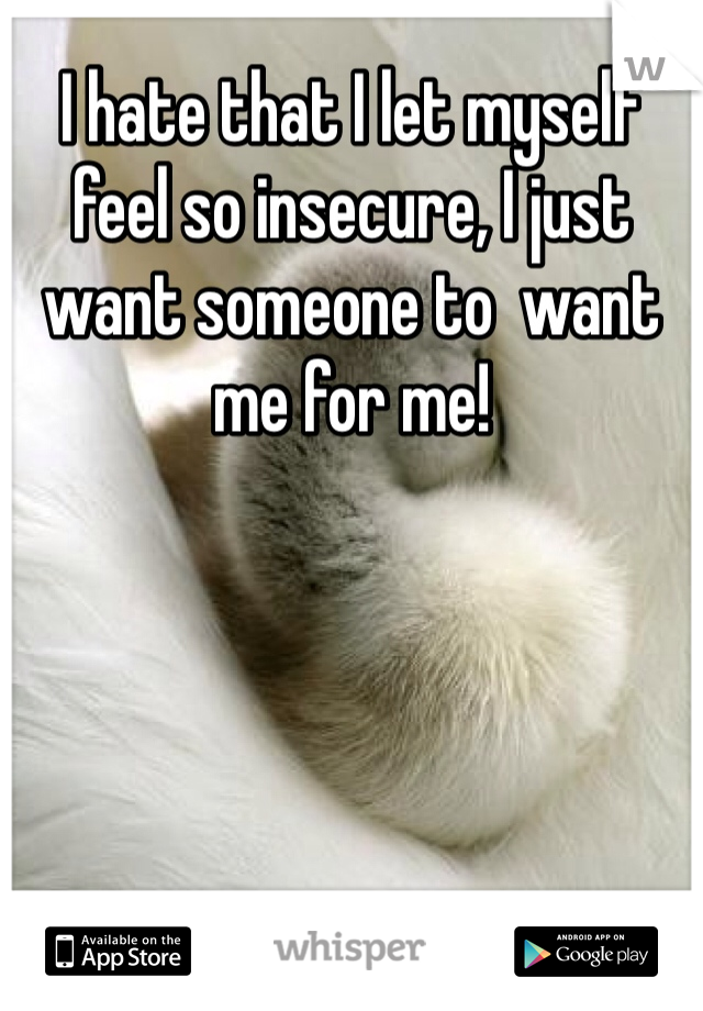 I hate that I let myself feel so insecure, I just want someone to  want me for me!