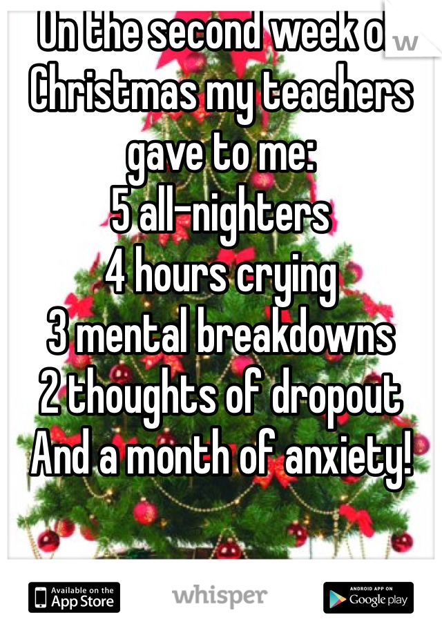 On the second week of Christmas my teachers gave to me: 5 all-nighters 4 hours crying 3 mental breakdowns 2 thoughts of dropout  And a month of anxiety!