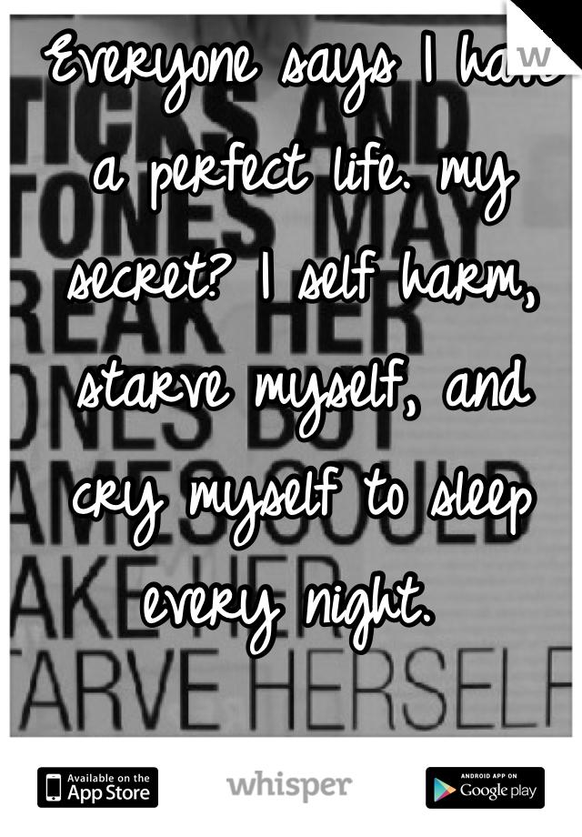 Everyone says I have a perfect life. my secret? I self harm, starve myself, and cry myself to sleep every night.