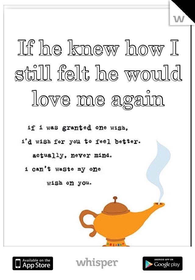 If he knew how I still felt he would love me again