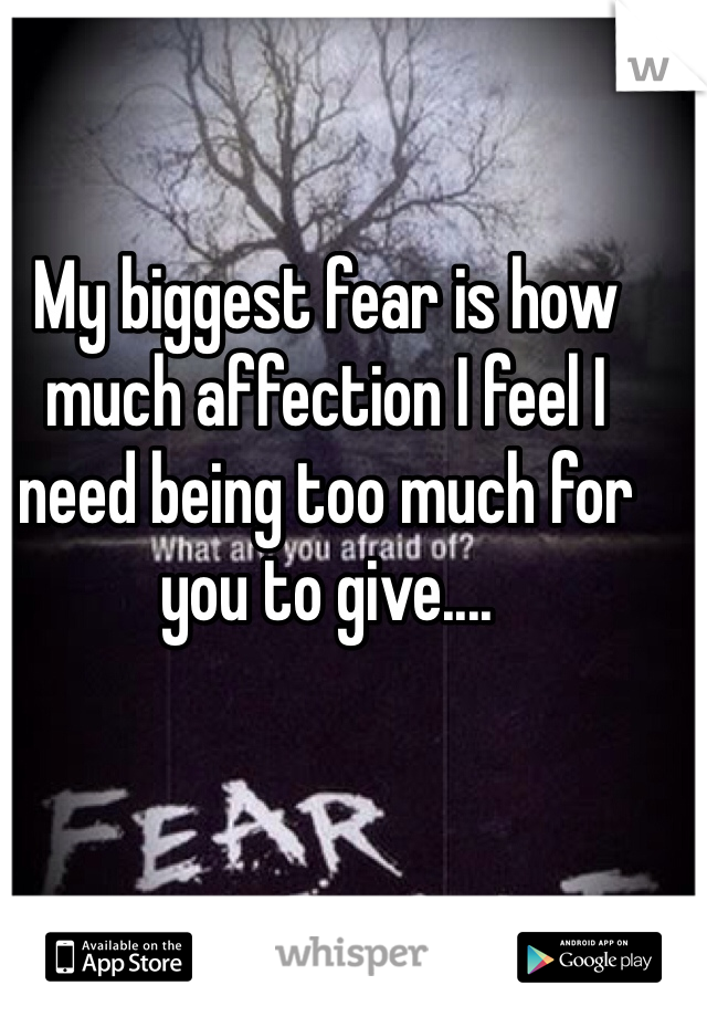My biggest fear is how much affection I feel I need being too much for you to give....