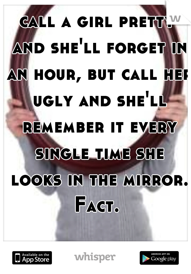 call a girl pretty and she'll forget in an hour, but call her ugly and she'll remember it every single time she looks in the mirror. Fact.
