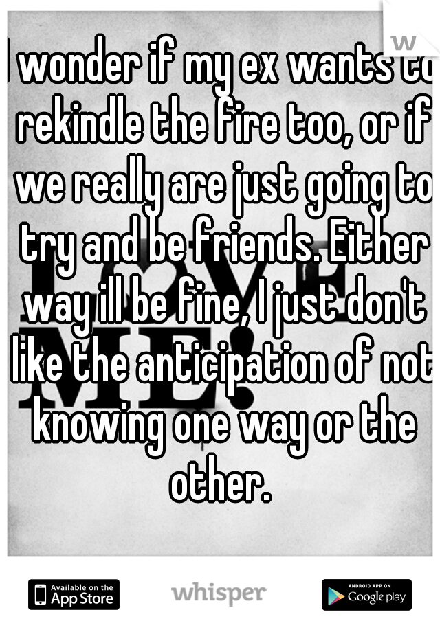 I wonder if my ex wants to rekindle the fire too, or if we really are just going to try and be friends. Either way ill be fine, I just don't like the anticipation of not knowing one way or the other.