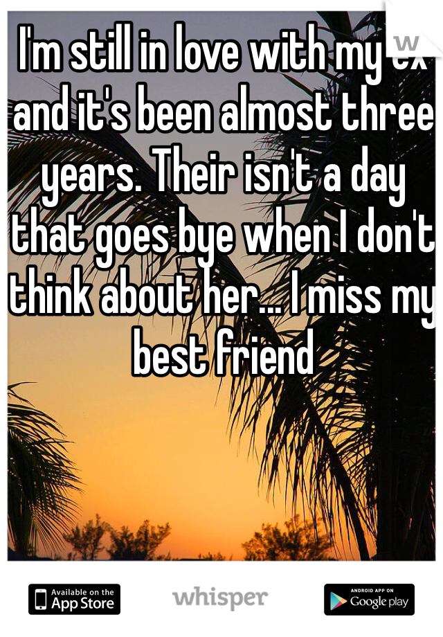 I'm still in love with my ex and it's been almost three years. Their isn't a day that goes bye when I don't think about her... I miss my best friend