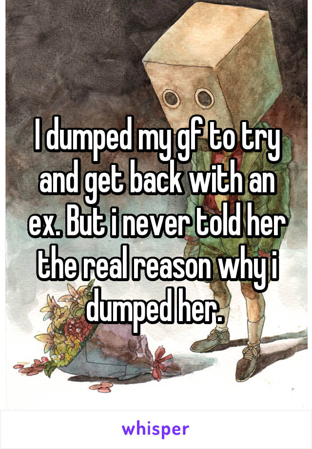 I dumped my gf to try and get back with an ex. But i never told her the real reason why i dumped her.