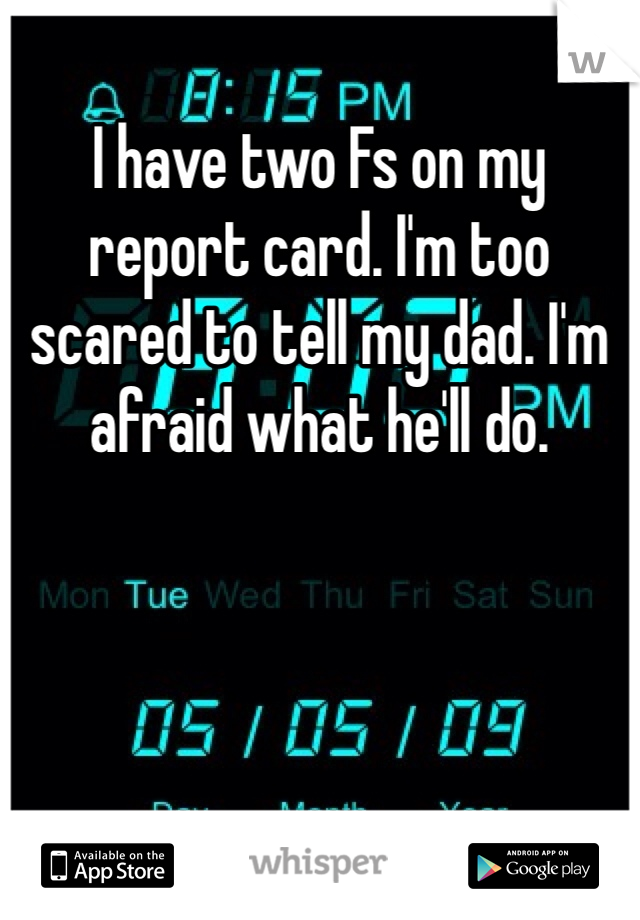 I have two Fs on my report card. I'm too scared to tell my dad. I'm afraid what he'll do.
