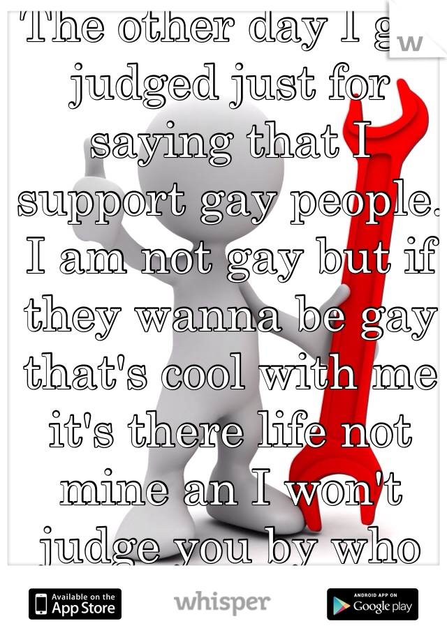 The other day I got judged just for saying that I support gay people. I am not gay but if they wanna be gay that's cool with me it's there life not mine an I won't judge you by who you wanna spend it with.