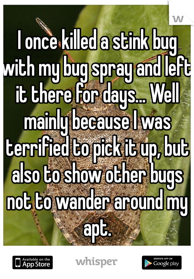 I once killed a stink bug with my bug spray and left it there for days... Well mainly because I was terrified to pick it up, but also to show other bugs not to wander around my apt.