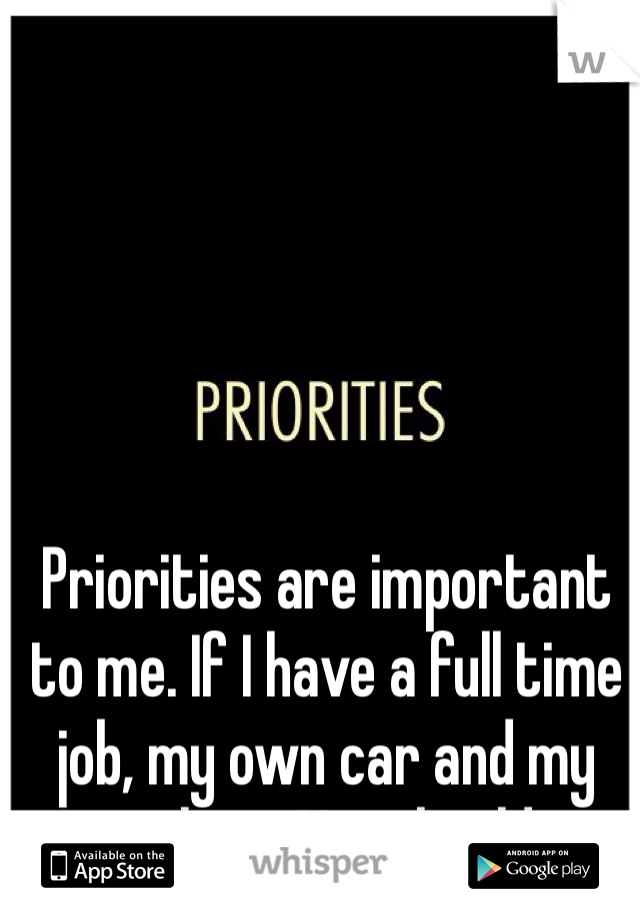 Priorities are important to me. If I have a full time job, my own car and my own place. You should to.