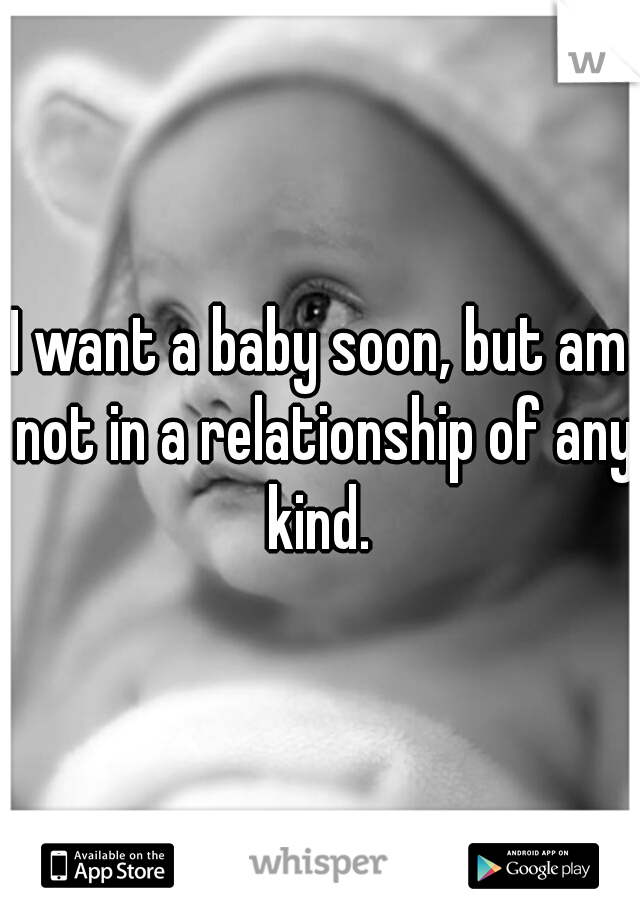 I want a baby soon, but am not in a relationship of any kind.
