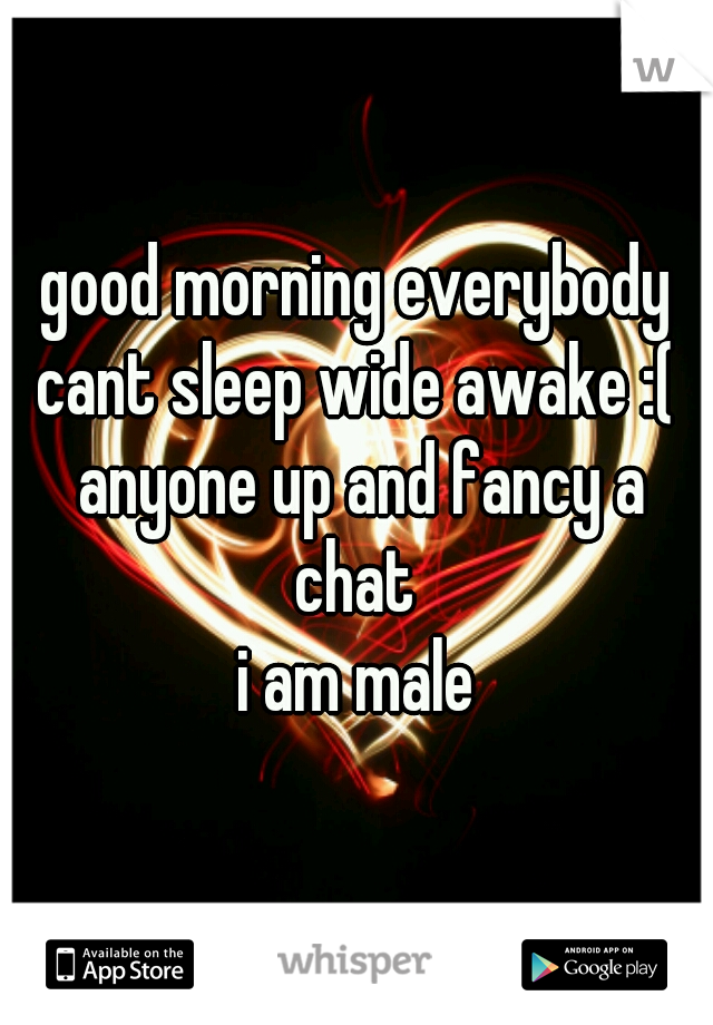good morning everybody cant sleep wide awake :( anyone up and fancy a chat  i am male