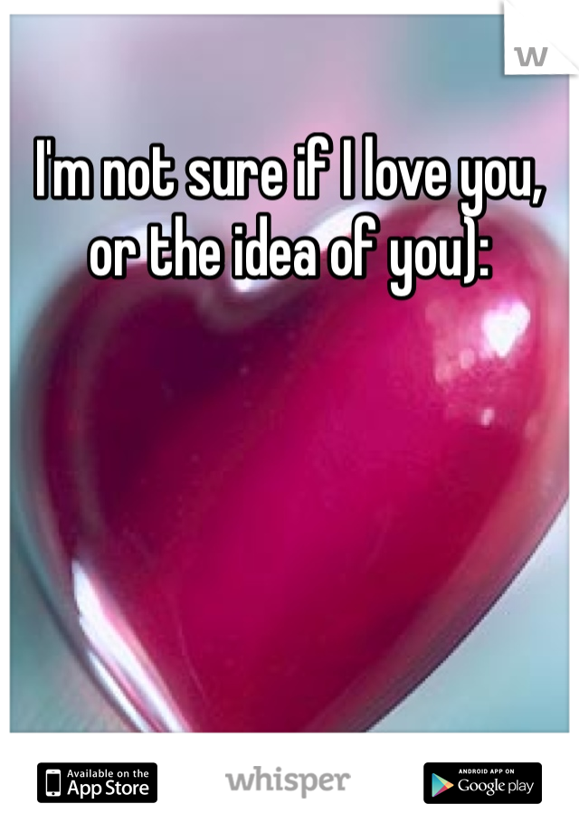 I'm not sure if I love you, or the idea of you):