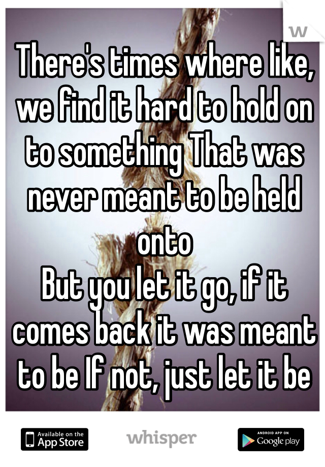 There's times where like, we find it hard to hold on to something That was never meant to be held onto But you let it go, if it comes back it was meant to be If not, just let it be