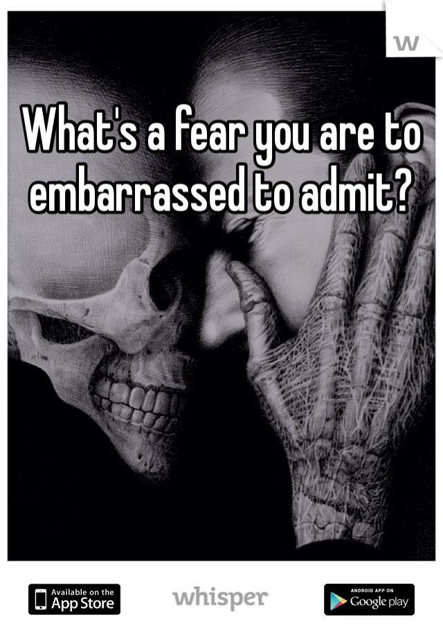What's a fear you are to embarrassed to admit?